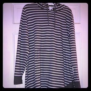 MAURICES Gray & White Striped Hoodie Dress size 1